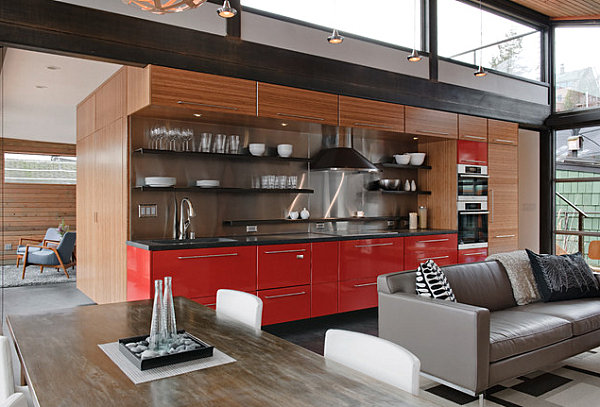 Red kitchen cabinetry
