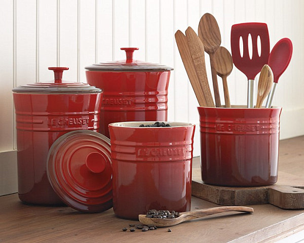 Red stoneware canisters