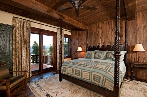 View In Gallery Retreat With Exaggerated Use Of Wooden Surfaces Along Curtains For Sliding Glass Doors