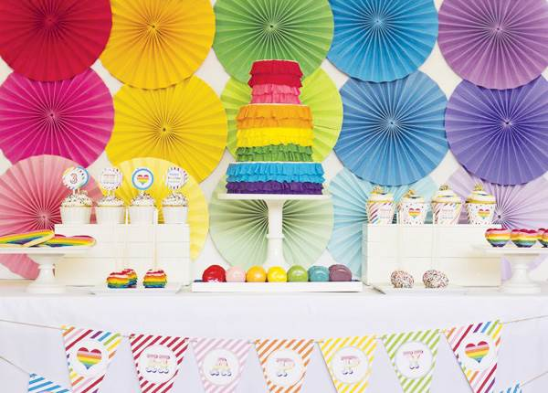 Ruffled rainbow dessert table
