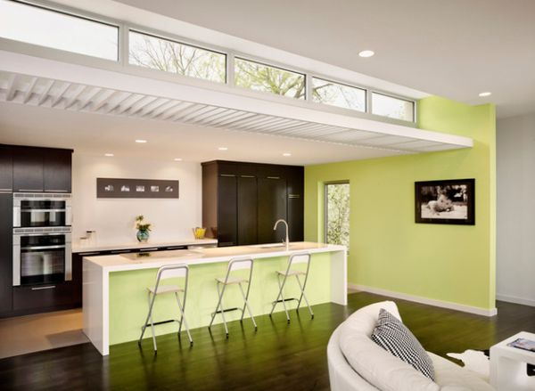 Slender modern kitchen lit up gorgeously with a gentle shade of light lemon green