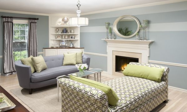Soothing shades of blue couple with stylish green accents