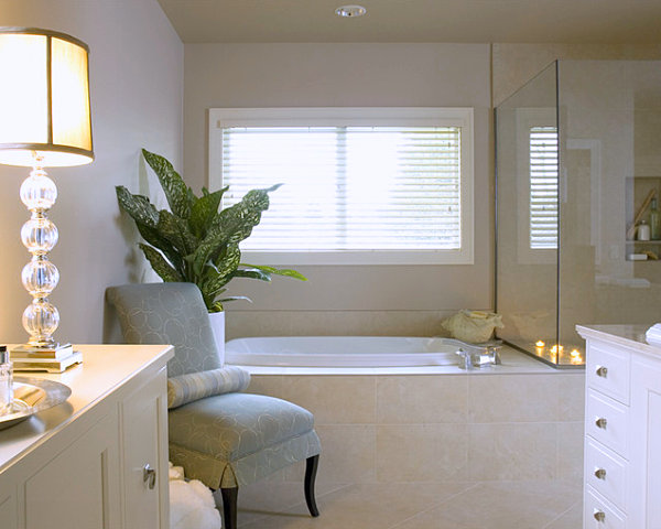Sophisticated bathroom with chair