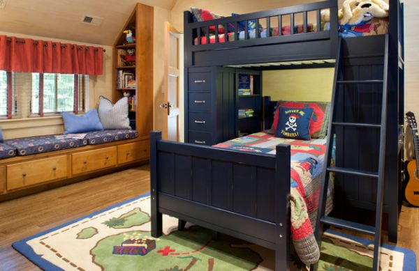 Spacious Pirate themed boys' bedroom in dark navy blue