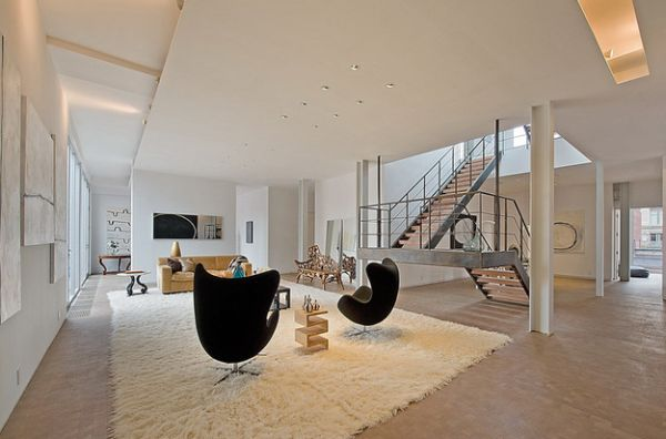 View In Gallery Spacious Modern Home Employs The Egg Chair To Add Both  Visual Contrast And Balance