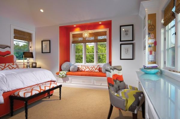 Splashes of orange create a casual and contemporary vibe