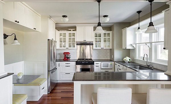 Stainless steel appliances in a modern bistro kitchen