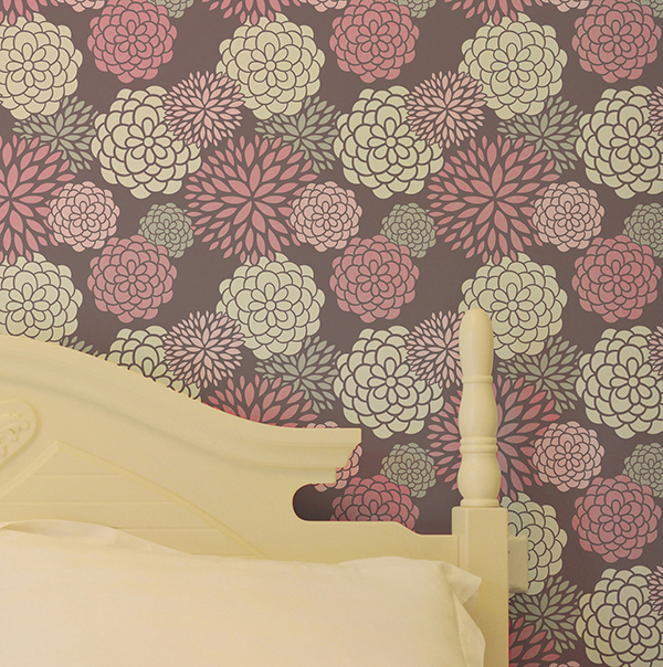 Stenciled Wall Pattern in Bedroom