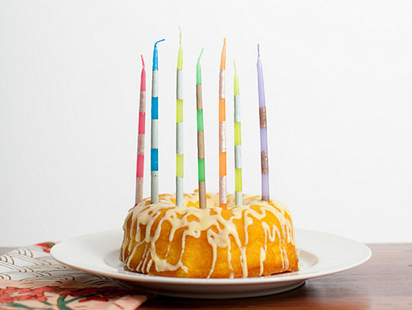 Striped birthday candle DIY project