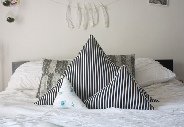 Striped triangle accent pillows