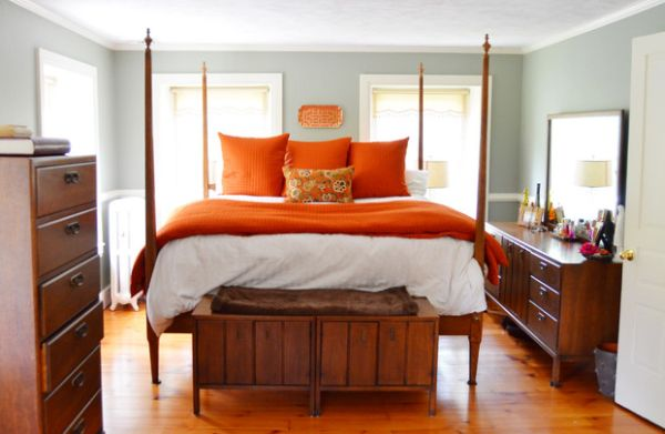 Studies show that warm tones of orange in the bedroom help improve sleep quality