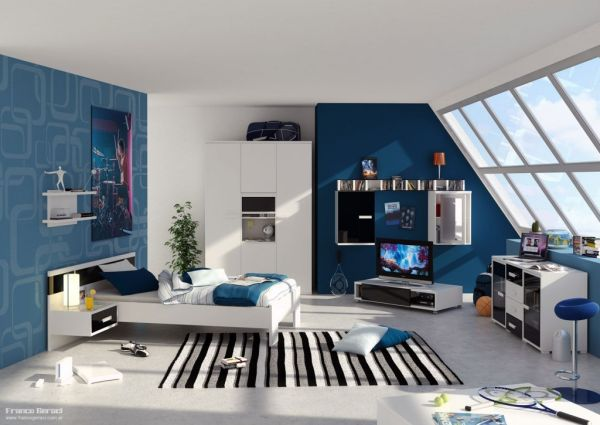 stunning and stylish teenage boys bedroom design idea in blue - Boys Room Design Ideas