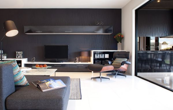 Stunning contemporary living room induces color with an understated elegance