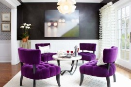 Stunning room in black and white with purple chairs for an extravagant look