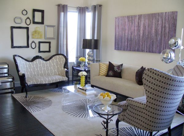 Stylish and creative way to add purple accents to a modern eclectic living space