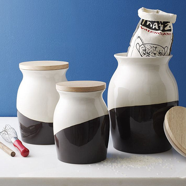 Stylish dipped kitchen canisters