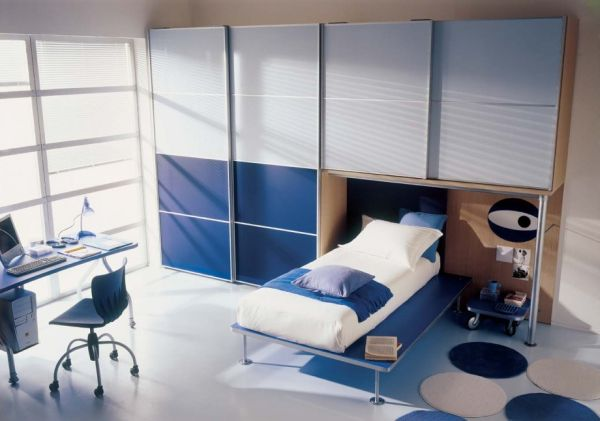 Stylish modern boys' bedroom in blue and grey