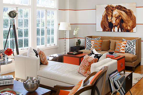Stylish striped living room