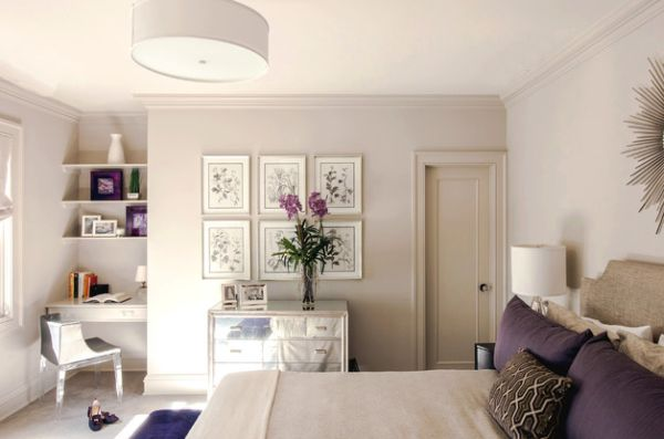 Subtle touches like purple flowers and photo frames can make a distinct impact