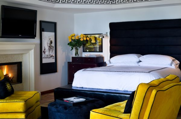 ... Sun-kissed bedroom with yellow accents that stand out in a neutral  backdrop