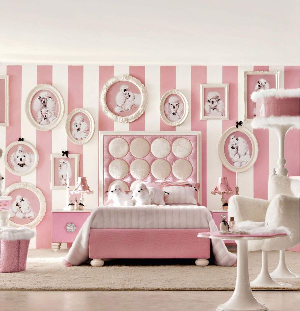 Super cute teenage girls  room in chic white and posh baby pink. Stylish Girls Pink Bedrooms Ideas