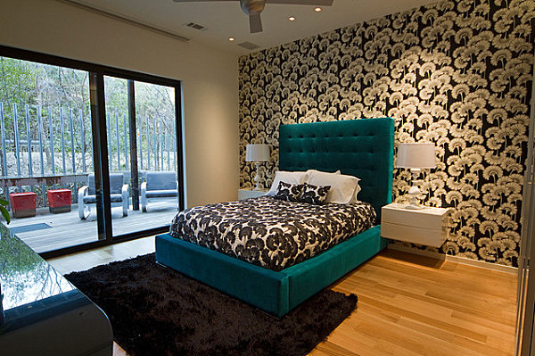 Teal green bed in a modern bedroom