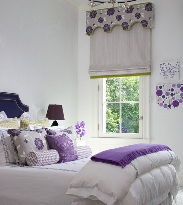 Teenage girls' bedroom in white with a dash of purple