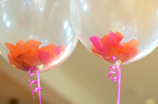 Tissue paper-filled balloons