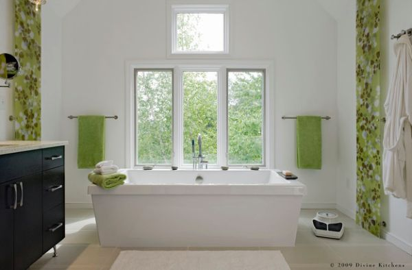 Touch of green in breathes freshness into a white bathroom