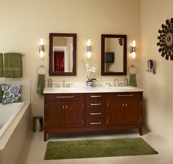 Towel and carpet offer a simple way to add green accents to a bathroom in muted tones