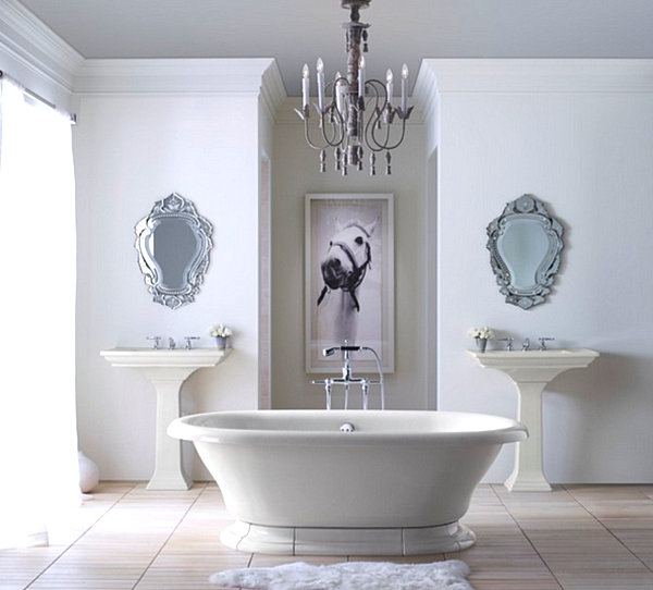 Traditional bathroom with formal details
