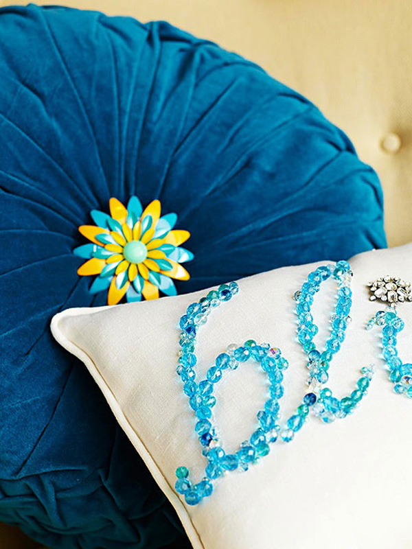 Turquoise beaded pillow DIY DIY Accent Pillows to Update Your Home