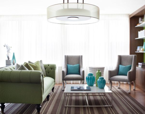 Turquoise blue and lovely green cushions provide the accent shades
