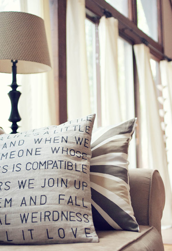 Typography stencil accent pillow DIY DIY Accent Pillows to Update Your Home
