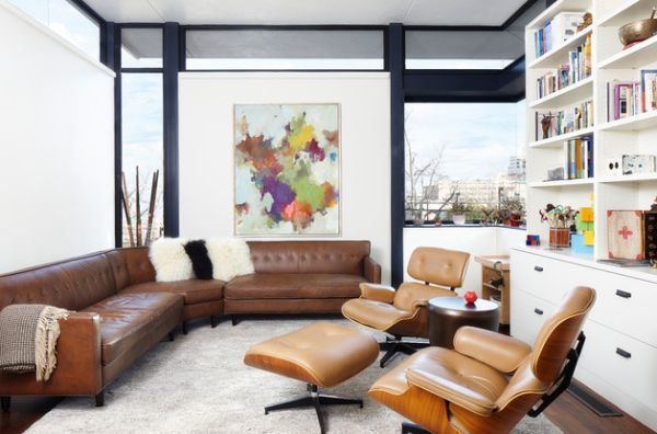 Use couch and seating in leather that matches the Eames lounger