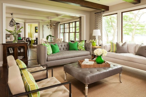 Vase, pillows and wall paint combine green and yellow accents seamlessly