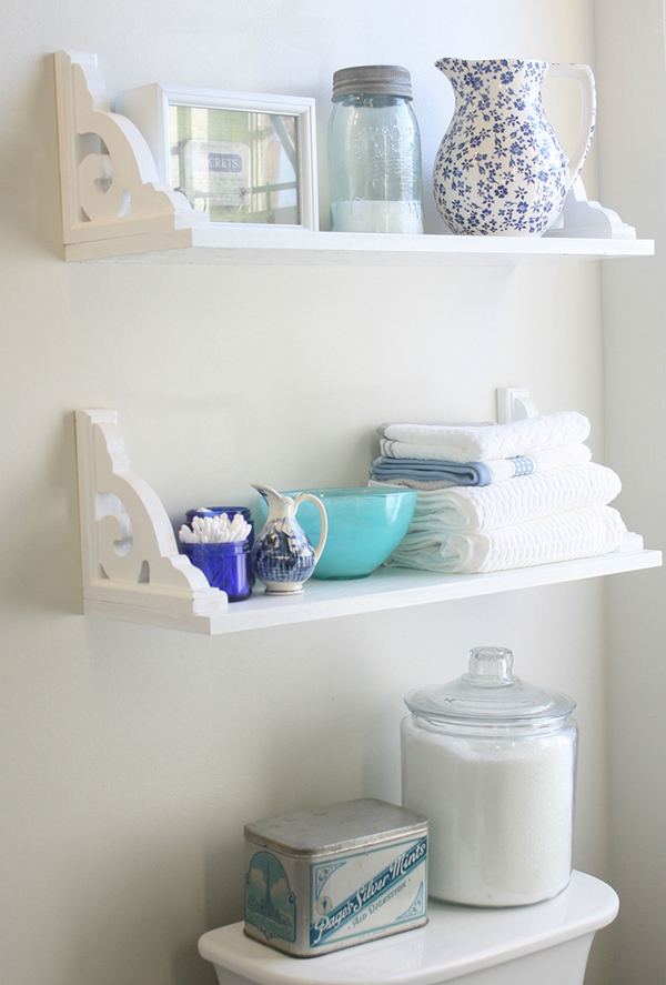 Vintage inspired diy bathroom shelves for Easy diy shelves