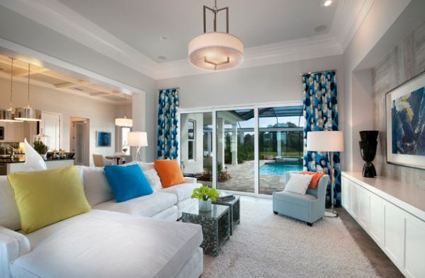 Vivacious and colorful curtains add character to this contemporary living space