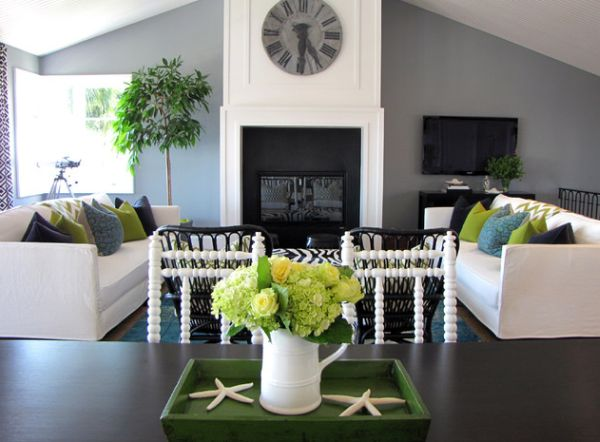 ... Vivacious Living Room Employs Green And Blue Along With White And Grey