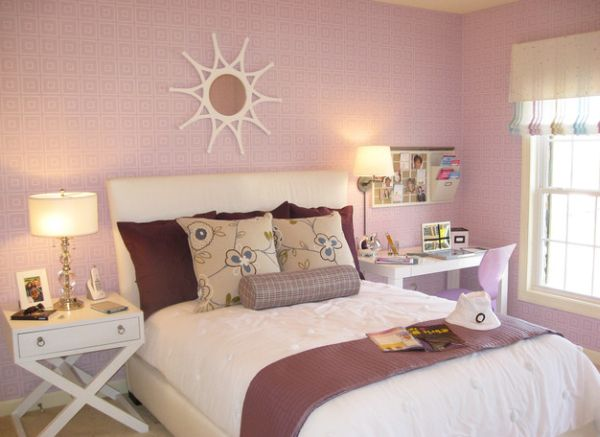 Stylish girls pink bedrooms ideas for Wallpaper colors for bedroom