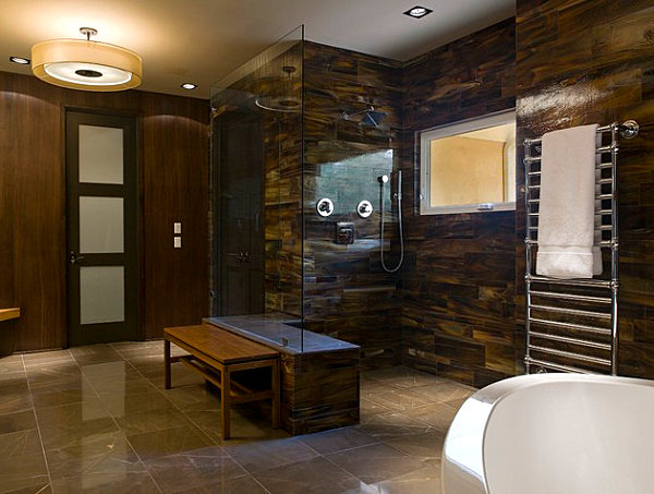 Warm colors in a masculine bathroom