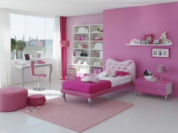 White and pink girls' bedroom