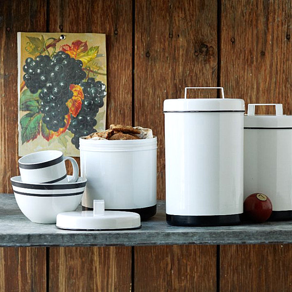 superior Designer Kitchen Storage Containers #9: View in gallery White enamel storage canisters