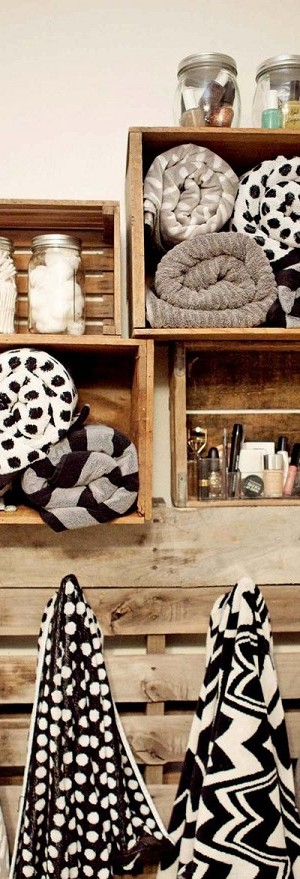 Wooden crate bathroom organizer
