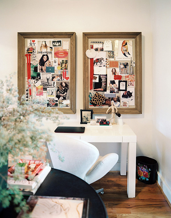 Work space with mood boards