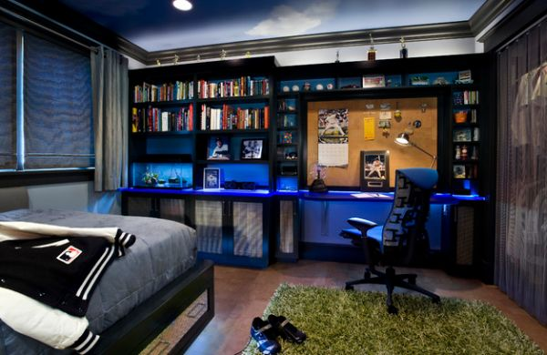 Yankees themed boys' bedroom with loads of blue