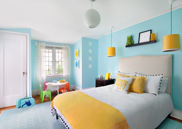 Yellow and blue make for a stylish and soothing combination