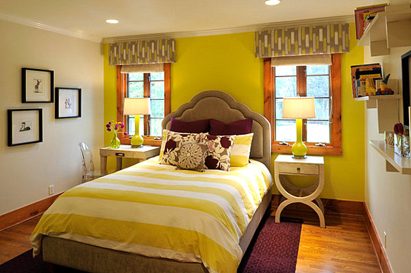 Yellow green bedroom with plum accents