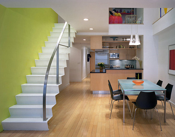 Yellow-green modern staircase