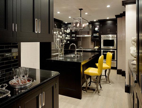 Yellow lemon bar stools for the kitchen